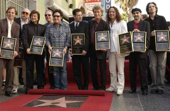 Robert with Steve Perry and the Journey guys at the Rock Walk presentation