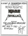 Roxx Regime flyer from an 82 show with some little band Metallica