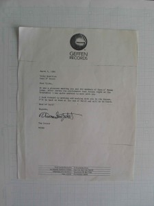 Geffen exec Tom Zutaut's  letter to Vicky about GNR after seeing the band