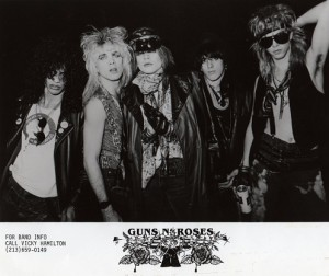 Vicky's original GNR promo pic with Slash's new logo design!