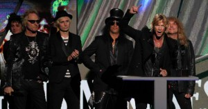 The GNR guys being inducted at the Hall of Fame, Green Day to the left.