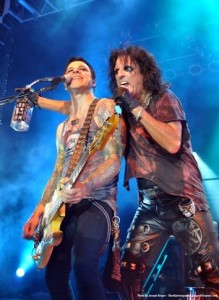 Chuck and Alice Cooper live onstage kicking ass