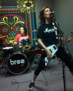 bree in rehearsal with her hard hitting drummer David Castello, photo by Jordan Severs