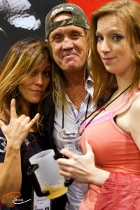 Linda and Courtney with Nicko McBrain, photo by Ron Dukeshire concertstock.com