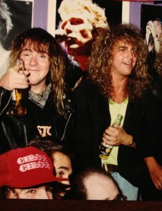 Young Jason and his Bonham bandmate Jonny Smithson at the Bonham record release party in NYC 1989 having some fun