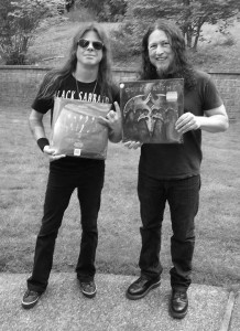 "Todd and Michael holding up ""my"" copy of the new LP...sweet vinyl"