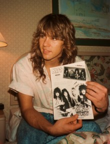 Mark back in the day holding a copy of the KISS fanzine KISS Rocks