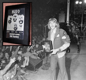 Bill onstage with KISS in Terre Haute and the plaque he was given