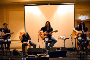 Stryper performing an intimate acoustic set at the first official Stryper Fan Fest Weekend this past October in Nashville, photo by Irene Kelly