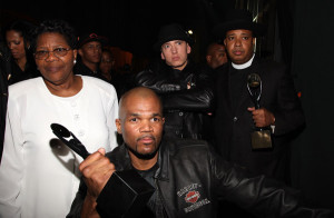 DMC at the Rock and Roll Hall of Fame induction with Jammaster Jay's mom, Eminem and Rev Run